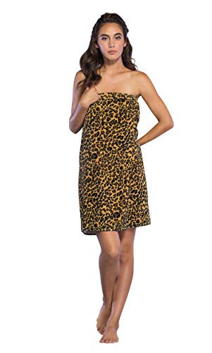 Cotton Terry Velour Animal Print Spa, Bath, Pool, Gym Towel Body Wrap with Adjustable Hook-and-Loop Tape (Leopard)