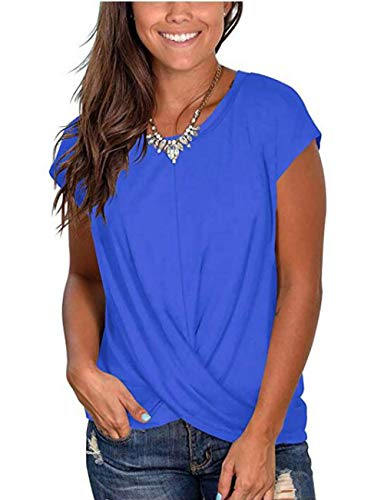 Women Summer Short Sleeve Twist Stylish Casual Basic Tunic Top Daily (Blue,M)