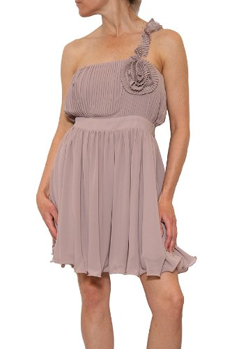 MM Couture by Miss Me Pleated Bodice One Shoulder Dress in Mauve