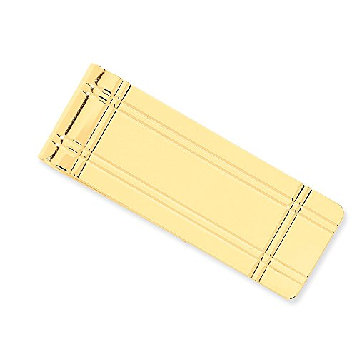 14k Yellow Gold Money Clip with Striped Borders by CoutureJewelers