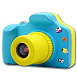 Kids Digital Video Camera Boys & Girls Toy Birthday Gift for Children, Mini Action Camera with Micro SD Card (Blue)