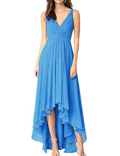 Bridal V Blue High Dress Prom Bess Women's Chiffon Bridesmaid Neck Backless Low Ocean qwBndI7d1F