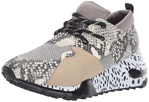 Steve Madden Women's Cliff Sneaker, Natural Snake, 7 M - Sneakers Print Leather