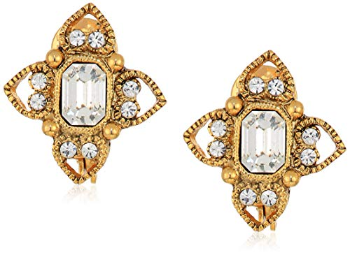 1928 Jewelry Women's Gold Tone Clear Crystal Rectangle Crystal Floral Clip Earrings Gold One Size
