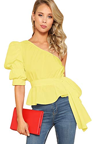 Belted Cotton Puff Sleeve Blouse - Romwe Women's One Shoulder Short Puff Sleeve Self Belted Solid Blouse Top Yellow Large
