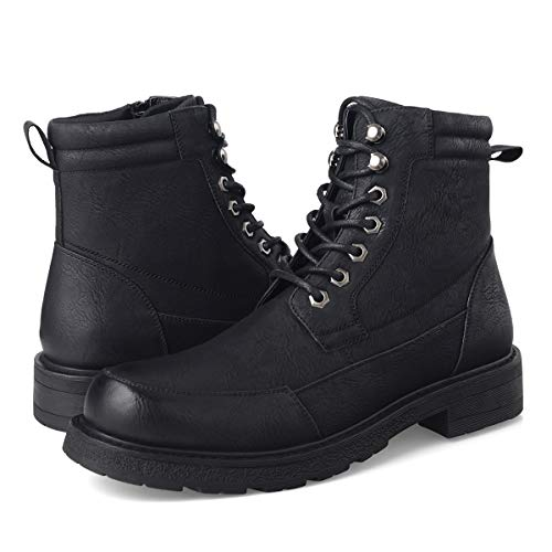 (GM GOLAIMAN Men's Combat Boots Winter Work-Lace Up Zip Apron Toe Ankle High Boot for Hiking Motorcycle Riding Military Tactical Black 8.5)