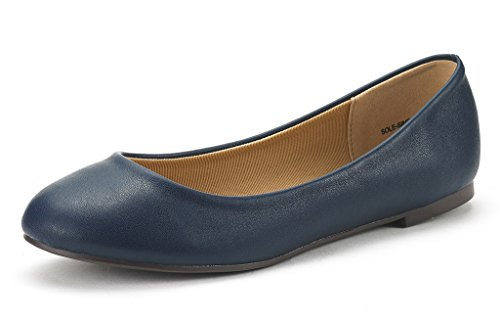 DREAM PAIR SOLE-SIMPLE New Women's Classic Solid Plain Design Comfort Ballerina Walking Flats Shoes NAVY PU SIZE 8.5