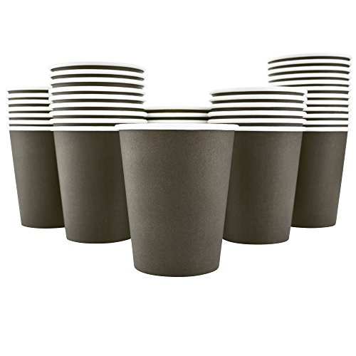 Brown Paper Cups (200 Pack - 8 Oz [12, 16] Disposable Hot Paper Coffee Cups - Mocha Brown (Cups)