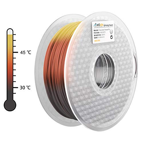 AMOLEN PLA 3D Printer Filament, 1.75mm, Tri Color Changing with Temperature, Pine Green to Brown to Yellow 1 kg Spool, Includes Sample Glow in the Dark Blue Filament.