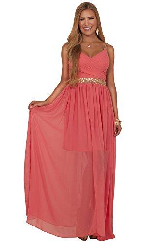 5912be3993 Juniors Formal Chiffon V Neck Cross Over Sequin Sleeveless High Waist Maxi  Dress