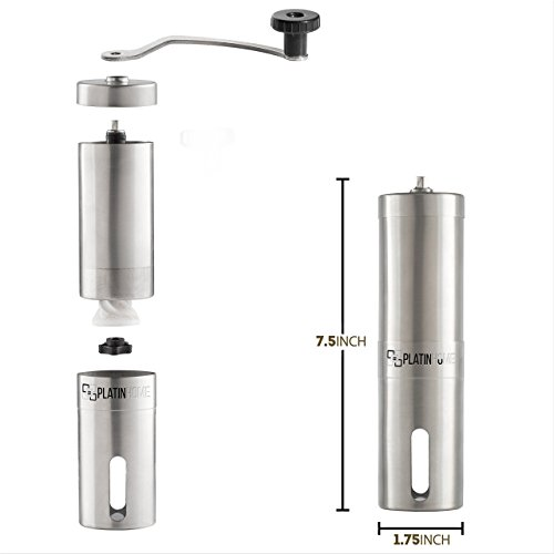 Stainless Steel Manual Coffee Grinder W/Ceramic Burr for Perfect Coffee Every Time - Quiet and Easy to Use, Perfect for Travel/Home - W/FREE Brush, Spoon, Pouch and E-book by PlatinHome by PlatinHome (Image #4)