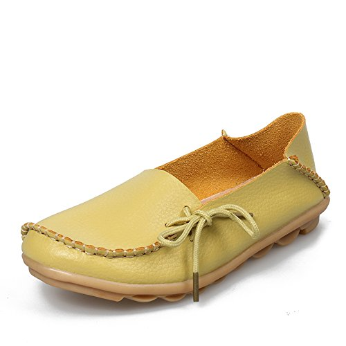 SUNROLAN Womens Leather Cowhide Casual Lace-up Slipper Slip-on Loafers Flat Driving Shoes Light Yellow