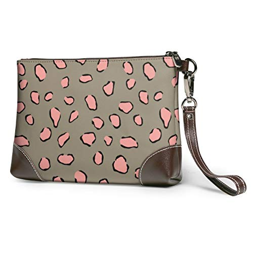Wallet Handbag Coin Purse Peach Cheetah Pattern Leopard Leather Clutch