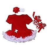 hibote Cute Newborn Baby Girls 1st Birthday Christmas Party Dresses Short Sleeve Tutu Bodysuit + Headband + Shoes 3 pcs ,12-18 Months