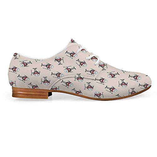 Alice in Wonderland Leather Oxfords Lace Up Shoes,Humpty Dumpty Egg Dancing Character Fairy Alice Fantasy Decor Bootie for Girls ladis Womens,US 10]()