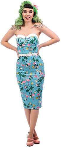 Pencil Dress Hellblau Kleid Tropischen Palmen Damen mit Monica Motiven Collectif Flamingo qwaxU6fH