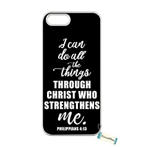 FavorPlus Philippians 4 13 I Can Do All Things Through Christ Who Strengthens Me Durable Iphone Apple White Case Cover