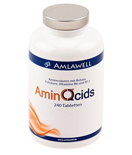 Amlawell Amino acid Complex / 240 vegane Tabletten /Alle 8 essentielle Aminosäuren mit Vitamin B6, B12 und Folsäure / Perfekte Formel