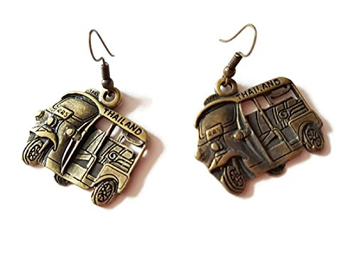 Hot Thailand Pinchbeck Jewelry Making Charms Jewelry Charm Antique Brass Tone Fashion Earrings Thai Elephant Style (Tuk Tuk - Sunglasses C Wonder