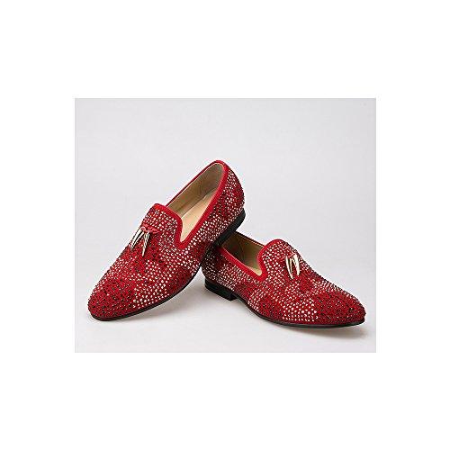 de Dorado cristalinos los de del Hombres Rojo y de Zapatos borlas Planos con Boda Ante Zapatos la BwzqR8z