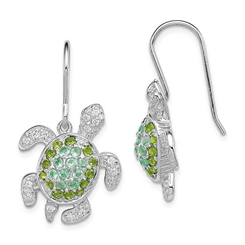 925 Sterling Silver Clear Green Blue Cubic Zirconia Cz Turtle Drop Dangle Chandelier Earrings Animal Reptile Fine Jewelry Gifts For Women For Her