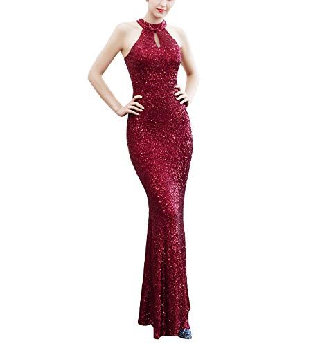 Chowsir Women Elegant Halter Fishtail Slim Cocktail Party Evening Bridesmaid Long Dress (Small, 16229Wine) - Halter Stretch Evening Gown