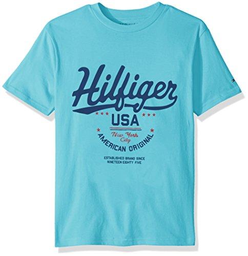 Tommy Hilfiger Boys' Little Short Sleeve Graphic T-Shirt, Bermuda Blue, 6