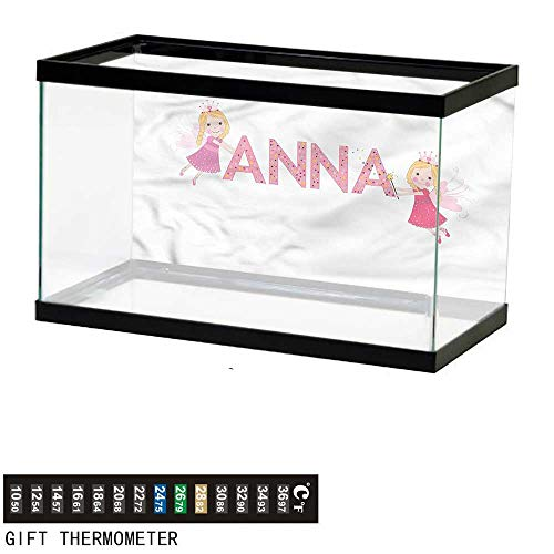 bybyhome Fish Tank Backdrop Anna,Nursery Themed Lettering,Aquarium Background,48