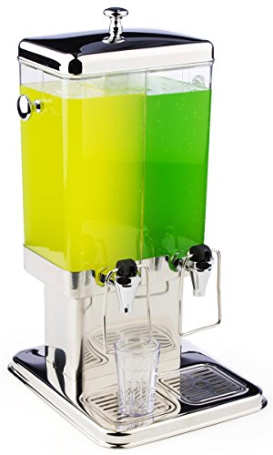 Displays2go Stainless Steel Juice Dispenser with Dual Polycarbonate Beverage Container, Ice Core