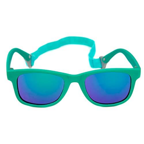 Baby Solo Babyfarer Baby Sunglasses Safe, Soft, Adjustable and Adorable 0-24 Months (0-24 months, Matte Aqua Frame w/Aqua Mirror Lens)