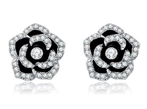 Crossing The Platinum Rose Earrings Black Roses