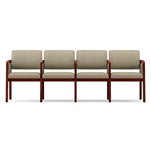 One Set, Lenox Panel Arm Four Seat Fabric Sofa w/Center Arms Dimensions: 86.5''W x 26''D x 31.5''H Weight: 90 Lbs Each Seat Supports Users Up to 275 Lbs - Angora Fabric/Cherry Frame by Lesro