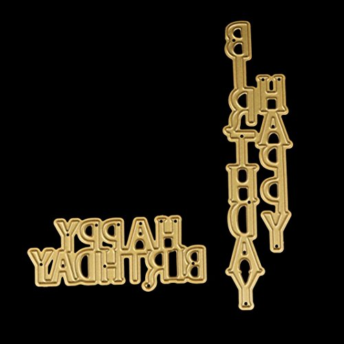 Stencil 2PCS Happy Birthday, ZTY66 Gold Metal Cutting Dies for DIY Scrapbooking Embossing Album Paper Card Craft