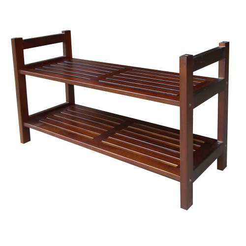 ORE International 15-1/2-Inch Mahogany Stackable Shoe Rack