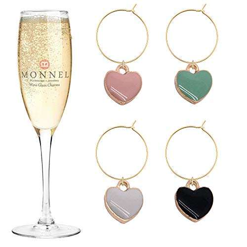 P433 Brand New Cute Assorted Tiny Love Hearts Wine Charms Glass Marker for Party with Velvet Bag- Set of 4 (Charms Heart Glass)