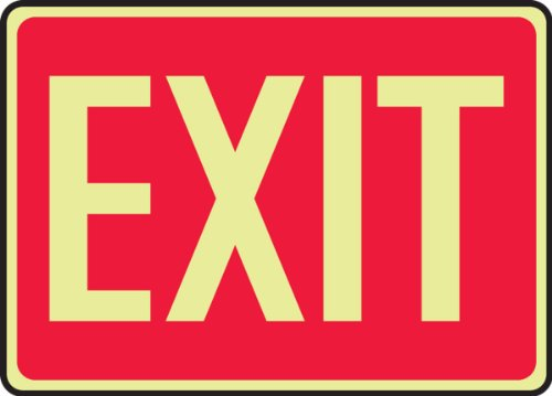 Accuform Signs MLAD510GP Lumi-Glow Plastic Safety Sign, Legend 'EXIT', 7' Length x 10' Width x 0.070' Thickness, Glow on Red