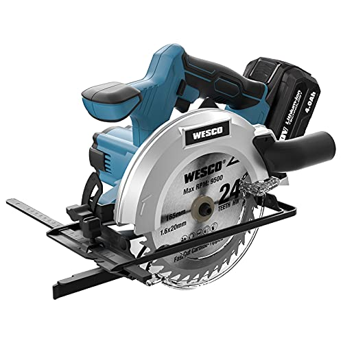 WESCO 20V 4.0Ah Battery Circular Saw, 6-1/2