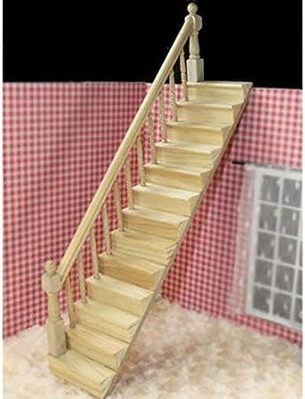 DishyKooker - Escalera de Madera para casa de muñecas con pasamanos Izquierdo premontado, 45 Grados de inclinación: Amazon.es: Hogar
