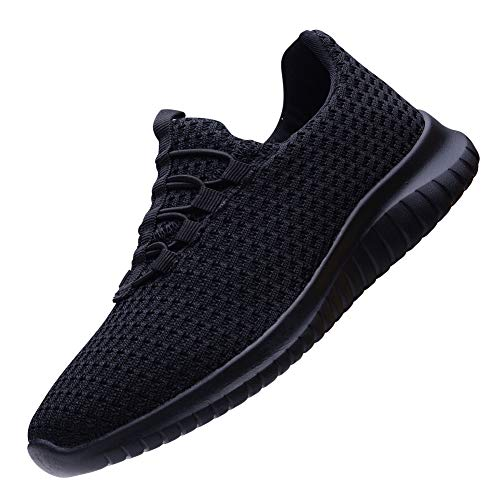 TIOSEBON Women's Lightweight Casual Walking Athletic Shoes Breathable Flyknit Running Slip-On Sneakers 7.5 US All Black]()