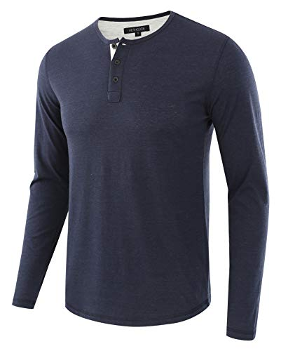 HETHCODE Men's Classic Comfort Soft Regular Fit Long Sleeve Henley T-Shirt Tee Navy/H.Oatmeal M ()