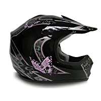 TMS Youth Kids Pink Butterfly Dirtbike Atv Motocross Helmet Mx (Large) by T-Motorsports