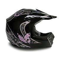 TMS Youth Kids Pink Butterfly Dirtbike Atv Motocross Helmet Mx (Medium) by T-Motorsports