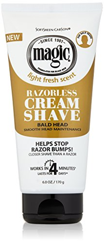 - Razorless Shaving Cream for Men by SoftSheen-Carson Magic, Hair Removal Cream, for Bald Head Maintenance, No Razor Needed, Depilatory cream works in 4 Minutes for Coarse Curly Hair, 6 oz