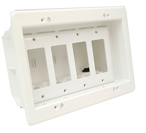 iMBAPrice DVFR4W-1 (4-Gang) Recessed Electrical Outlet Mounting Box w/Paintable Wall Plate, 1-Pack