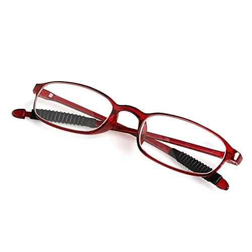 Wivily Women Men Flexible Reading Glasses Readers Strength Presbyopic Glasses - Wine Red (+3.0)