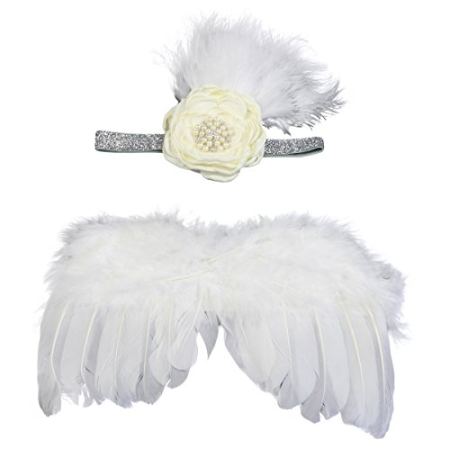 [Jastore Photo Prop Outfit Baby Girl Angel Feather Wing Costume with Headband (D)] (Girl Angel Costumes)
