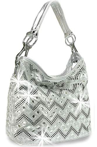(Zzfab Sparkle Gem Chevron Rhinestone Hobo Bag with Shoulder Strap Silver)