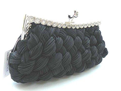 Handheld Evening Bag (Hand-Held Evening Bag,Clutch Bag-Elegant Black w/Stone & Long Shoulder Cahin. 6