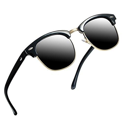 Polarized Sunglasses for Men and Women Semi Rimless Frame Driving Sun Glasses (Black Gold Rimmed/Smoke Lens)