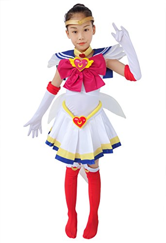 DAZCOS Kids Size Girls SuperS Usagi Tsukino Fighting Cosplay Costume Sailor Dress (Child M) for $<!--$86.99-->